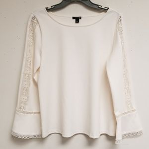 Ann Taylor White Crochet Bell Sleeves Top Size S